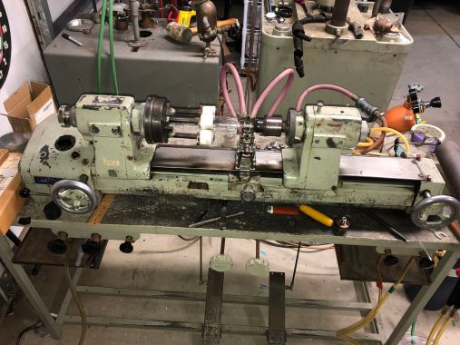 Lathe setup used for 1-off tube sealing