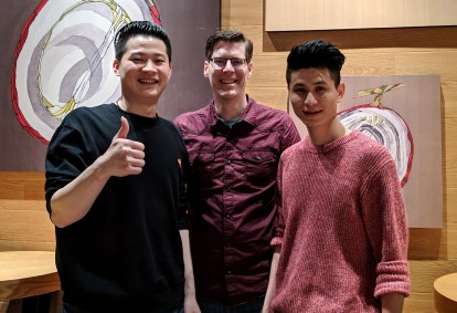 Xuan (left, Mike Szczys, and Xuan's brother