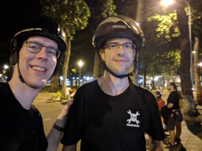Helmets! Mike Szczys (left), Sean Boyce (right)