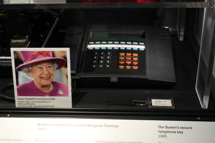 The Queen's encrypted telephone and its key.