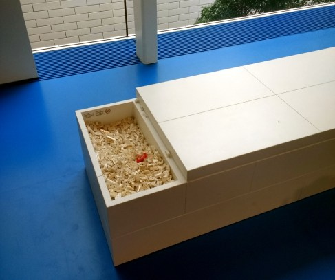 Throughout Lego House are these benches with bins of Lego bricks for the casual builder.