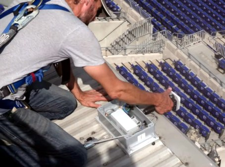 RFID stadium antenna installation