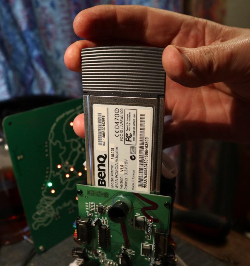 The PCMCIA network card, an off-the-shelf Benq item.