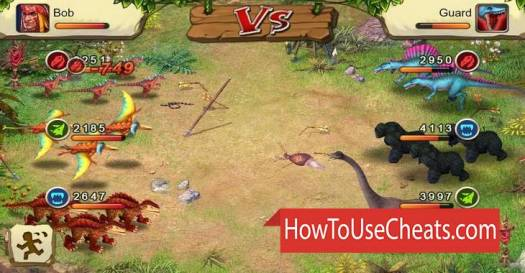 Dino Wars how to use Cheat Codes and Hack Money and Gems