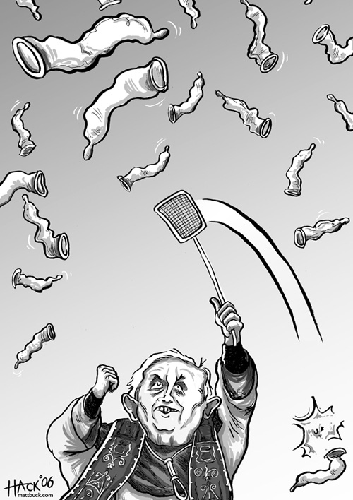 Pope Benedict XVI and condoms, cartoon