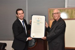 Certificate of Recognition presented by Jacob Finn, LA Cybersecurity Policy Mgr.