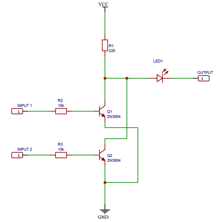 Schematic drawing of a logic NOR gate using NPN BJT transistors