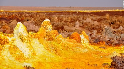 The Danakil Depression desert basin reaches up to 125 meters below sea level and is home to fields of sulphurous hot springs like this one.