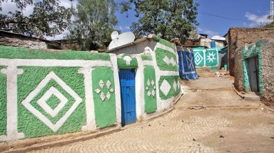 A colourful painted alleyway in Harar's Jugal, the 16th century fortification within the modern city.
