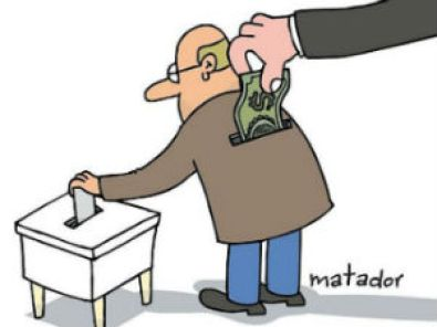 Image result for cartoon buying votes