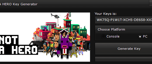 """NOT A HERO CD-Key Generator When you'll open our generator you'll see 2 options """"Console"""" and """"PC"""" to ensure you that you get a good key, we suggest you to choose the platform, if you'll not select the platform, the generator will generate a random key."""