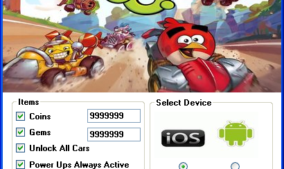 Angry Birds Go Hack Tool Today we introduce to you the 100% working Angry Birds Go Hack Tool which add unlimited Coins,Gems,Unlock All Cars and Power Ups Always Active to your devices application in just one second. All you need to do is just to login and press activate hack. We guarantee you that you will be the best Angry Birds Go player after usethis amazing tool.