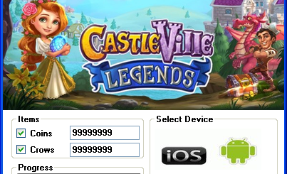 CastleVille Legends Hack Tool Today we introduce to you the 100% working CastleVille Legends Hack Tool which add unlimited Coins and Crows to your devices application in just one second. All you need to do is just to login and press activate hack. We guarantee you that you will be the best CastleVille Legends player after use this amazing tool.
