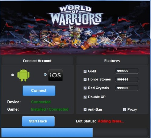 World Of Warriors Unlimited Gold, Red Crystals