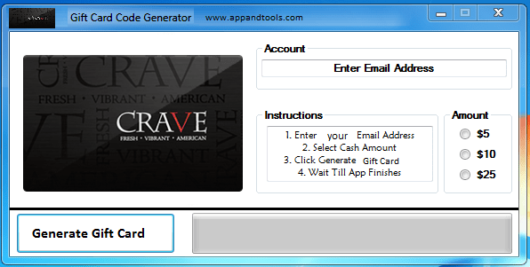 CRAVE Gift Card Generator