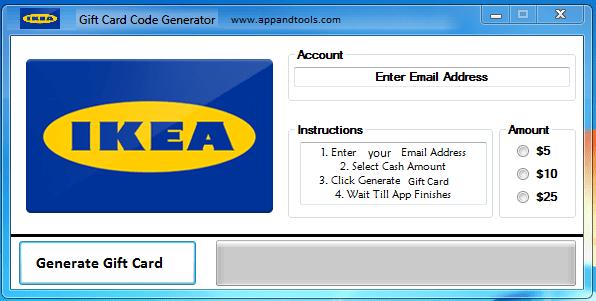 Ikea (Online Only) Gift Card Generator