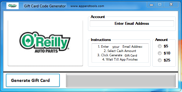 O'Reilly Auto Parts Gift Card Generator