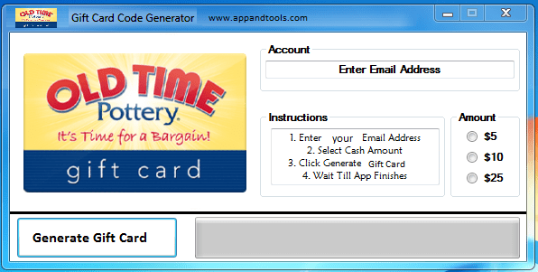 Old Time Pottery Gift Card Generator