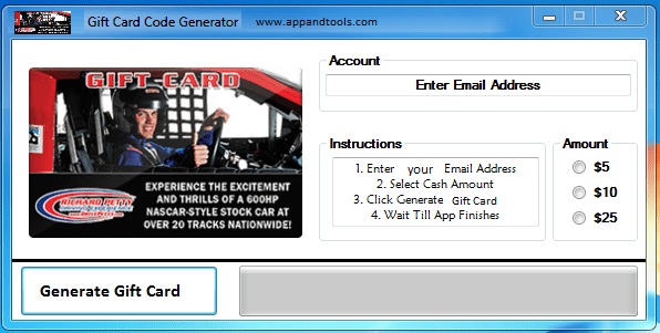 Richard Petty Driving Experience Gift Card Generator