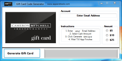 Cameron Mitchell Restaurants Gift Card Generator