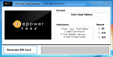CorePower Yoga Gift Card Generator