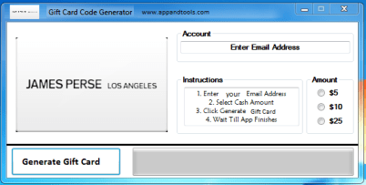 James Perse Gift Card Generator