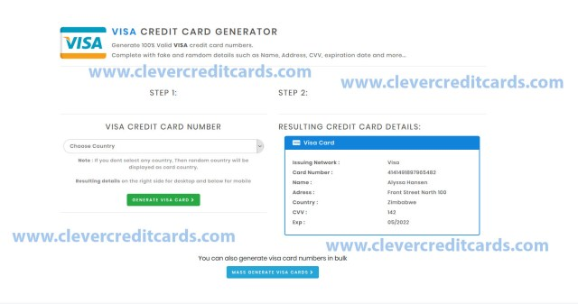 Visa Credit Card Generator With Cvv And Expiration Date