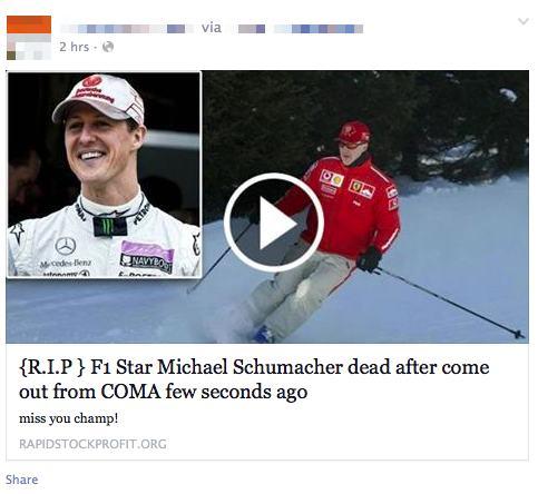 Latest Facebook Scam F1 Star Michael Schumacher Dead