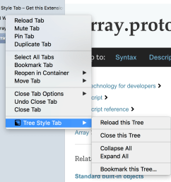 a custom context menu used by the tree style tab extension [ 1062 x 874 Pixel ]
