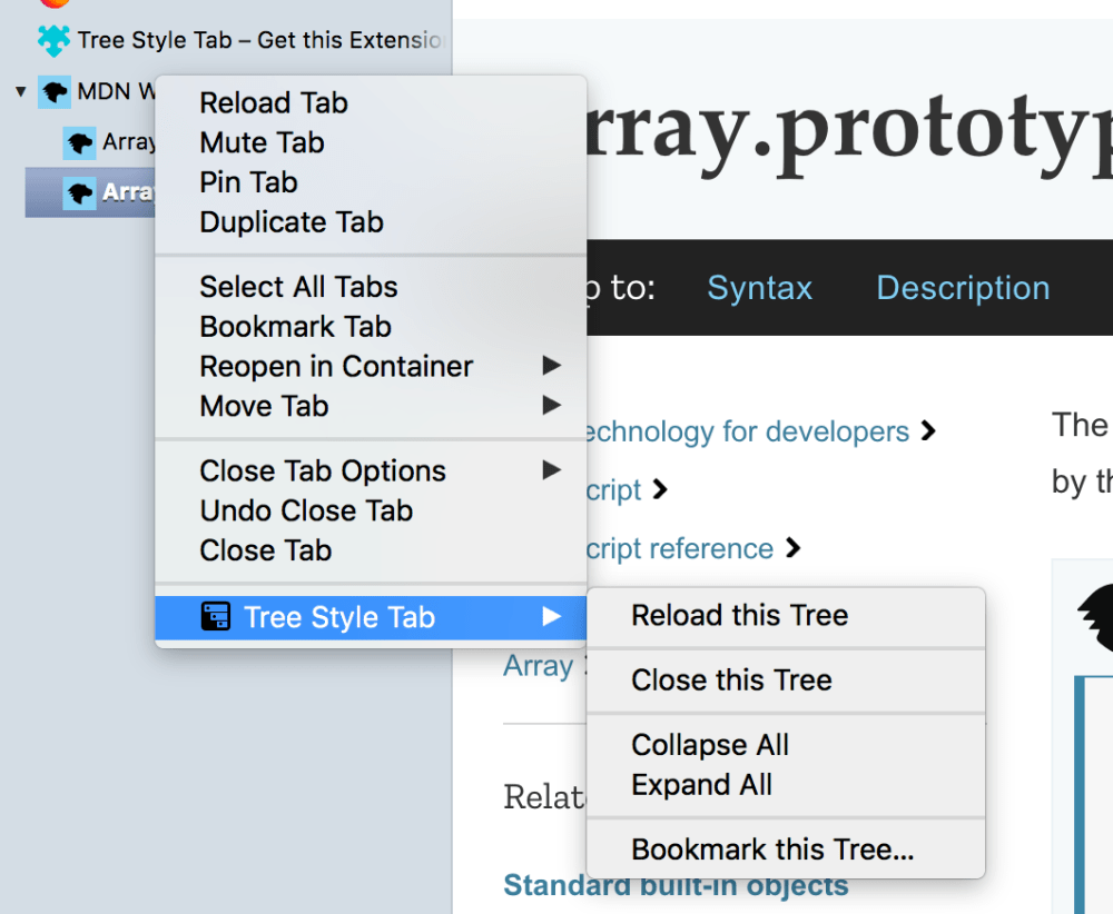medium resolution of a custom context menu used by the tree style tab extension