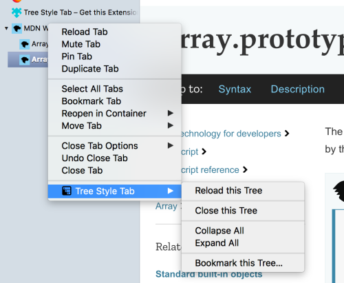 small resolution of a custom context menu used by the tree style tab extension