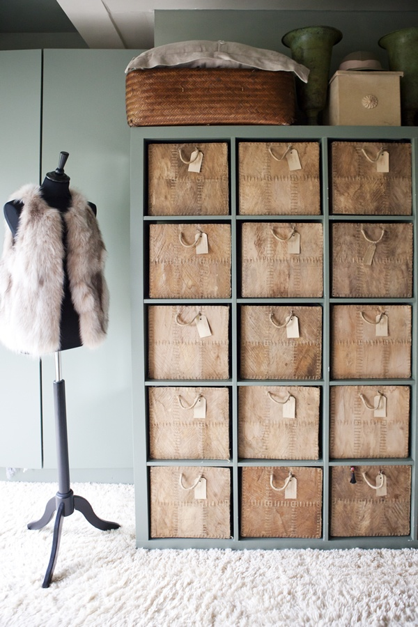 Ikea KALLAX Gray and Leather Cubby