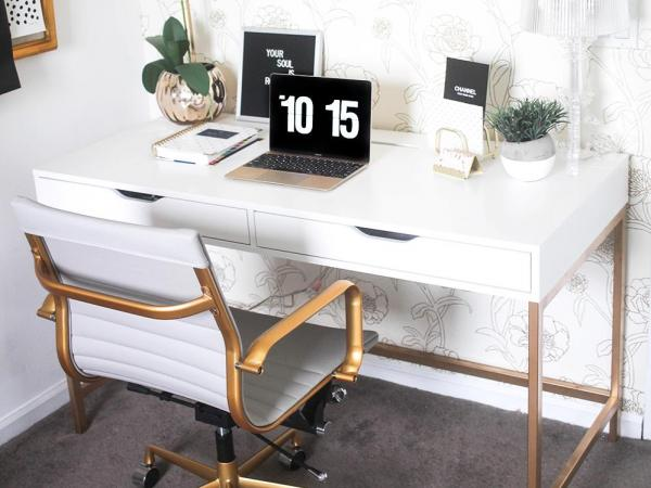 Ikea ALEX Gold Painted Desk Hack
