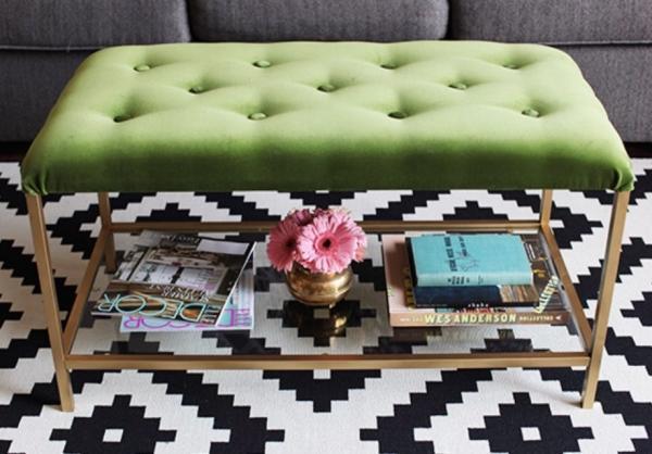 Ikea VITTSJO Green & Gold Ottoman Hack