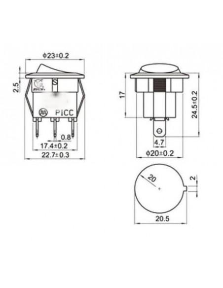 Switch SPDT Green rocker 16A / 12V / 20mm
