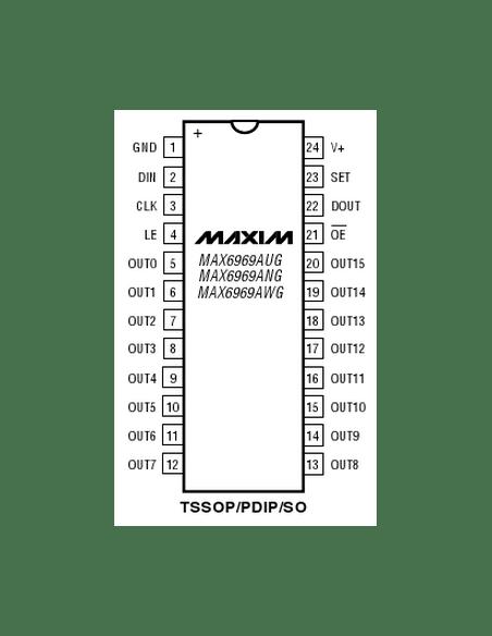 MAX6969ANG 16-Port 5.5V Constant-Current LED Driver