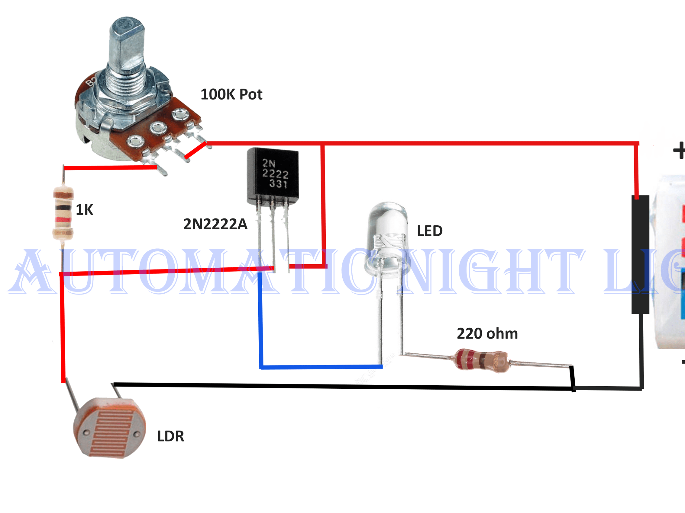medium resolution of automatic night lamp with ldr hackster io wiring diagram for lights dark room
