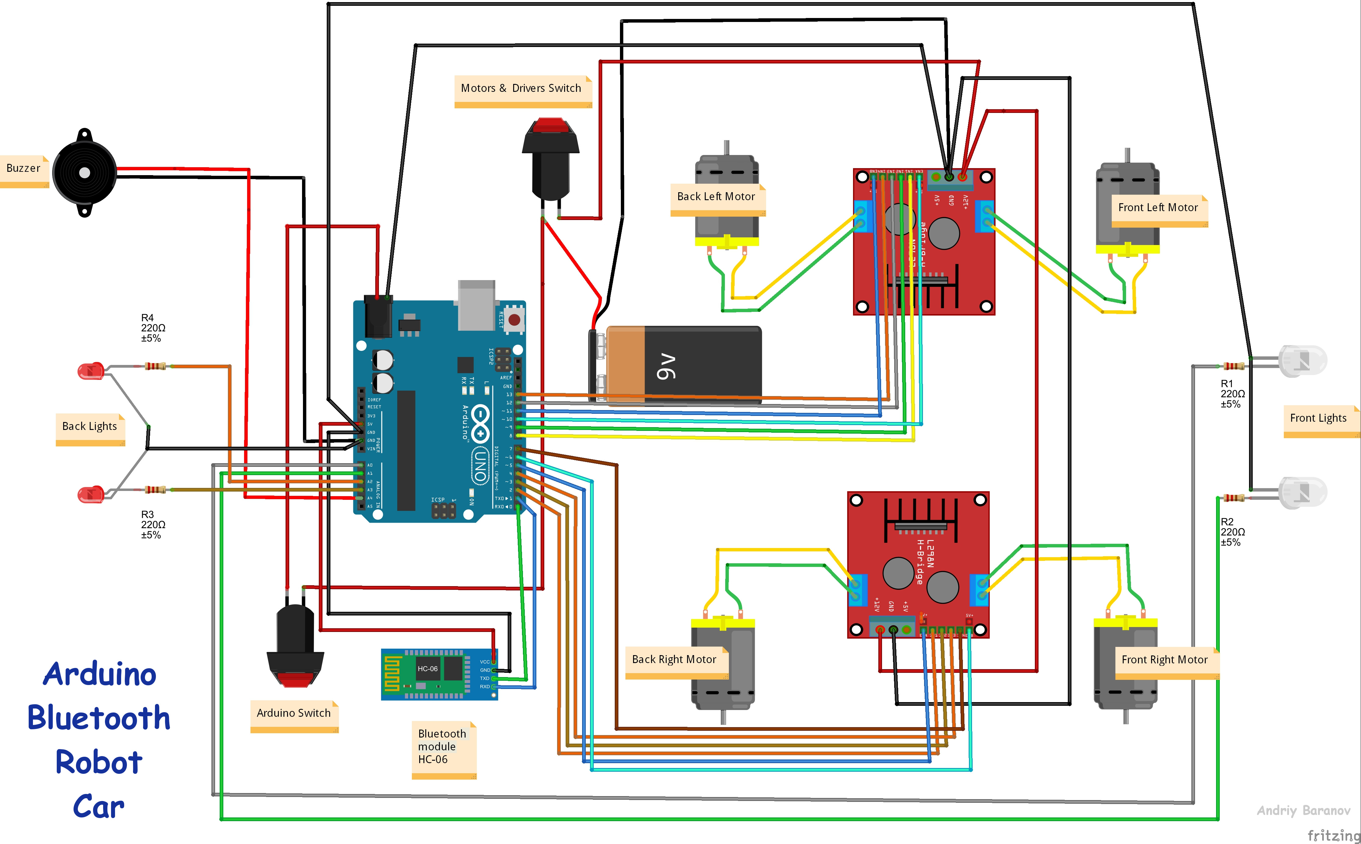 smart car horn wiring diagram bt telephone extension socket smartphone controlled arduino 4wd robot hackster io