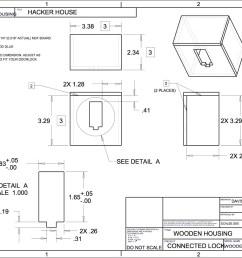 wooden version of the 3d printed door lock housing [ 1600 x 1236 Pixel ]