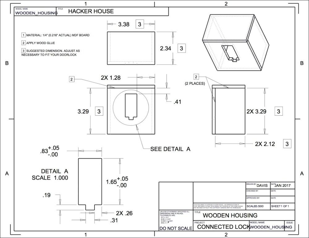 medium resolution of wooden version of the 3d printed door lock housing