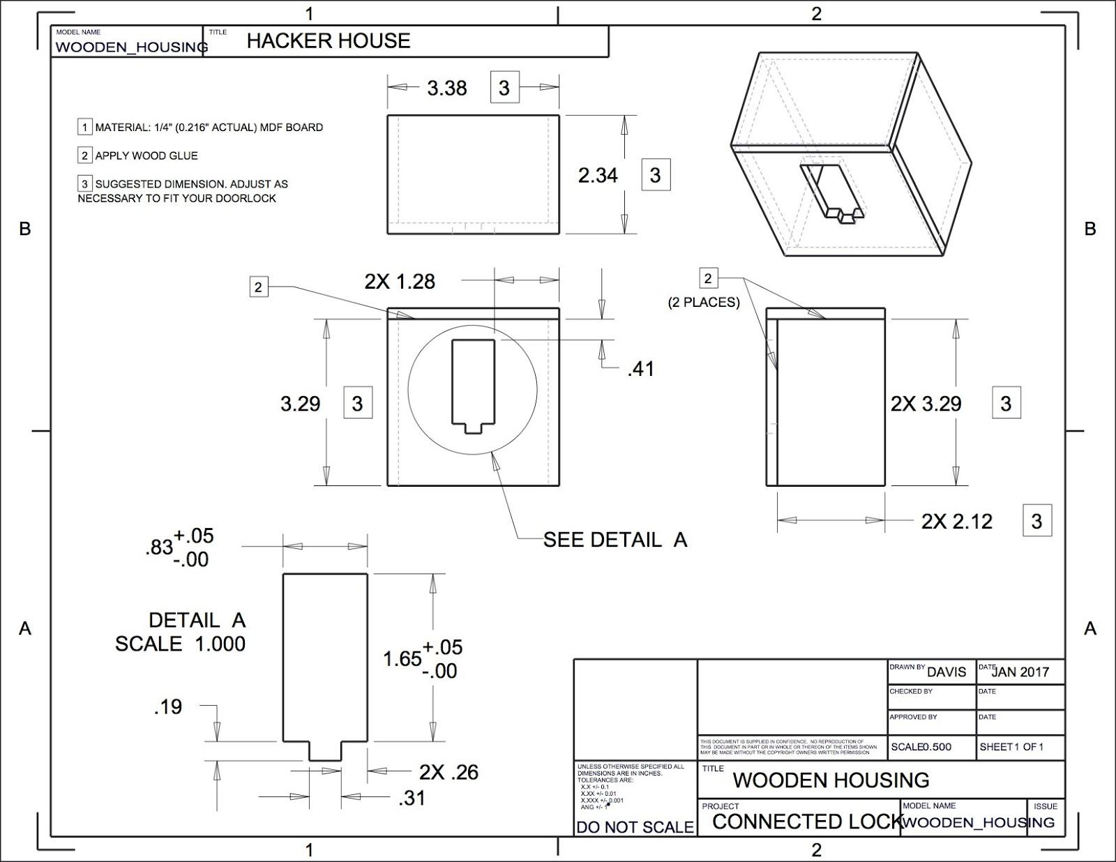 hight resolution of wooden version of the 3d printed door lock housing