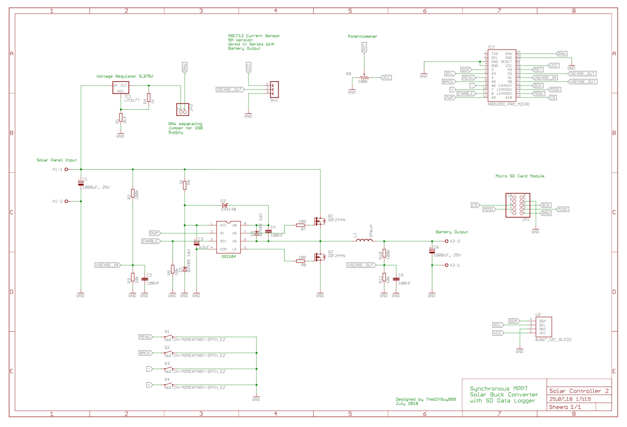 ATmega32U4-Based Synchronous MPPT Buck Solar Charger