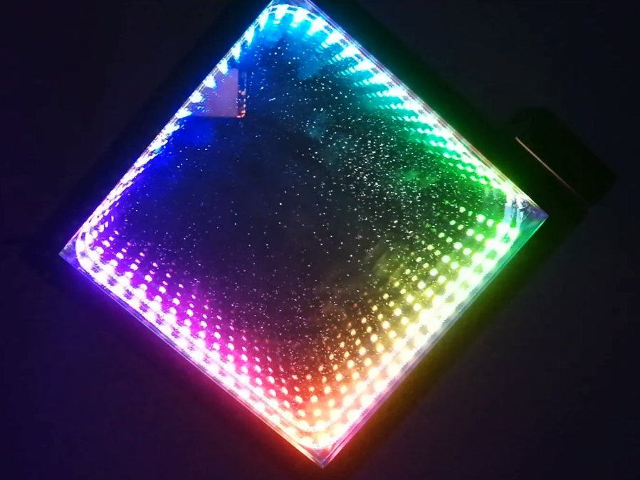 infinity mirror wall clock