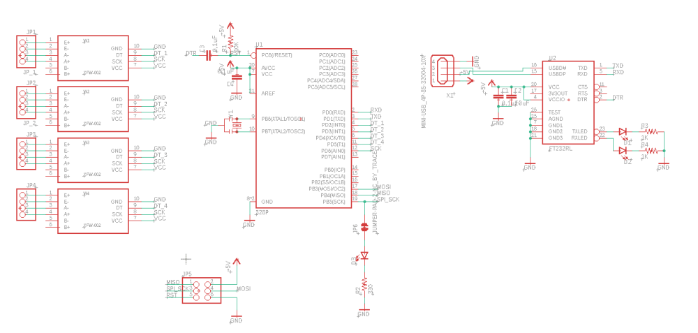 medium resolution of follow this schematic to connect the atmega328p to the hx711 load cell amplifiers and the ft232rl usb to serial uart