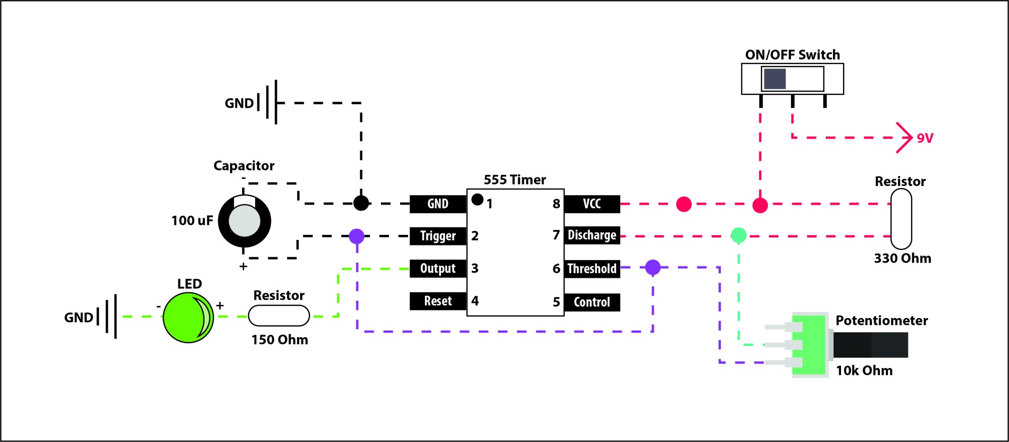 hight resolution of 555 timer circuit with potentiometer