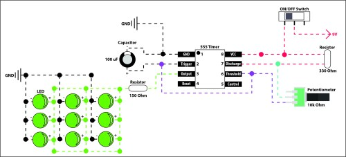 small resolution of 555 timer circuit with potentiometer and 9 leds