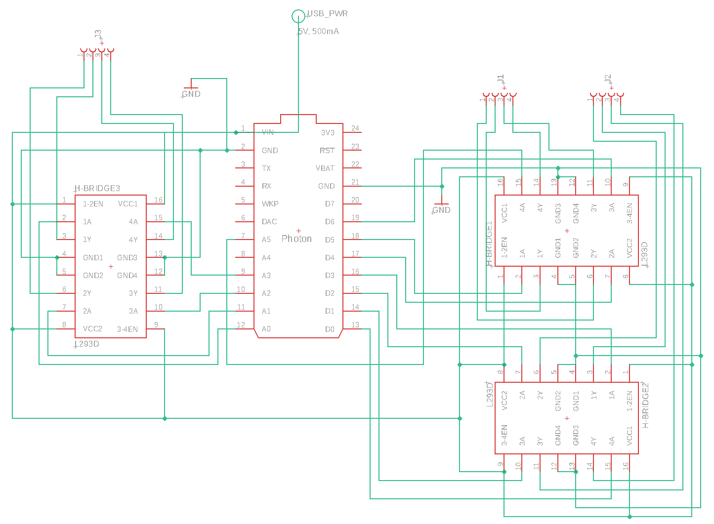 hight resolution of schematic shows connections between the photon the l293ds and the motors