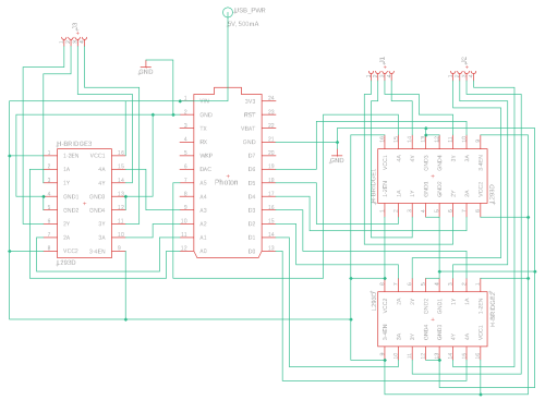 small resolution of schematic shows connections between the photon the l293ds and the motors