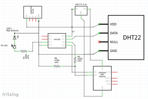 small resolution of this would be the schematic for an attiny85 my prototype is using an arduino nano i m also not currently using a resistor with the leds since they are in